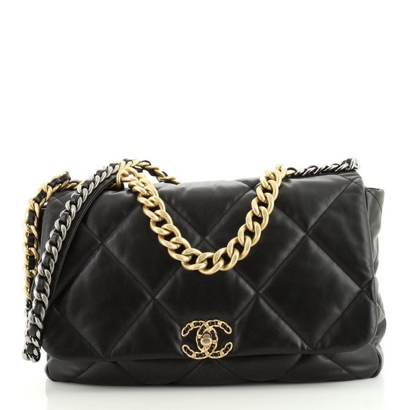 CHANEL Goatskin Quilted Maxi 19 Flap Black